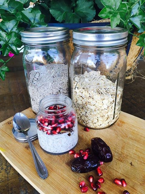 Megan's Simple Overnight Oats and Chia Porridge Recipe | High protein diets improve fertility and this simple high protein breakfast makes it easy to increase your protein intake. Click to see the recipe with pomegranates and dates.