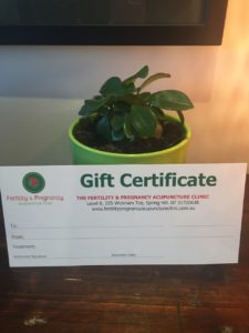 acupuncture gift certificate, certificate, acupuncture gift